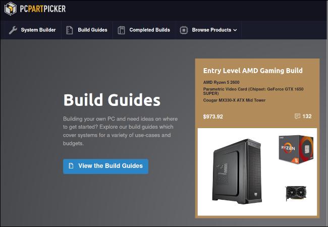 PC Part Picker-Website mit einer Kachel mit der neuesten Bauanleitung.
