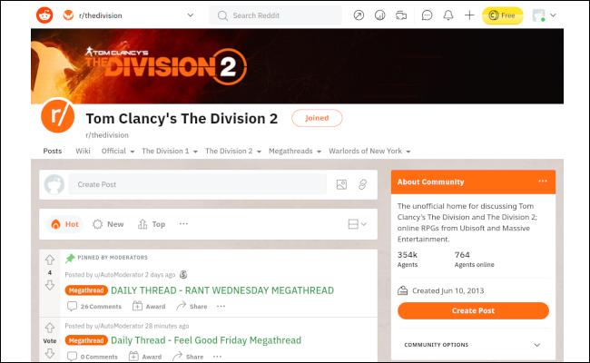 Die Divsion 2 Reddit-Seite weißer Hintergrund, mit orangefarbenen Highlights