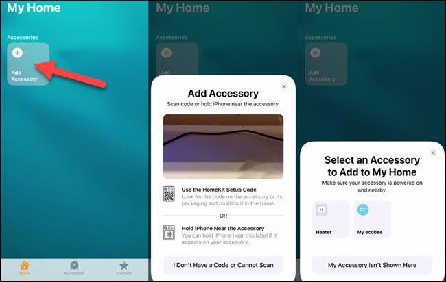 Fügen Sie ein Gerät in der HomeKit-App hinzu.