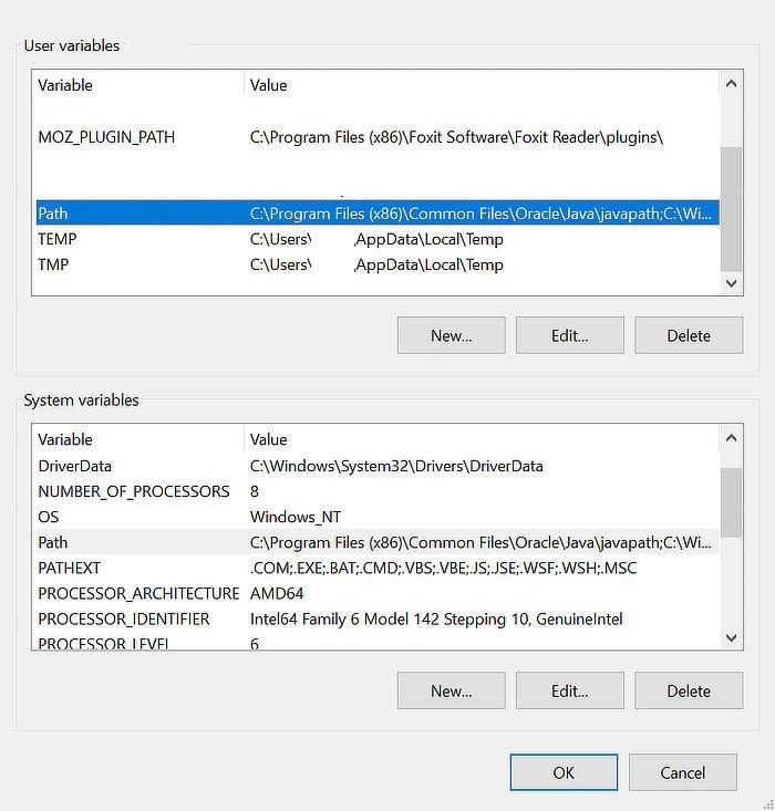 Umgebungsvariablen für den Windows-Pfad