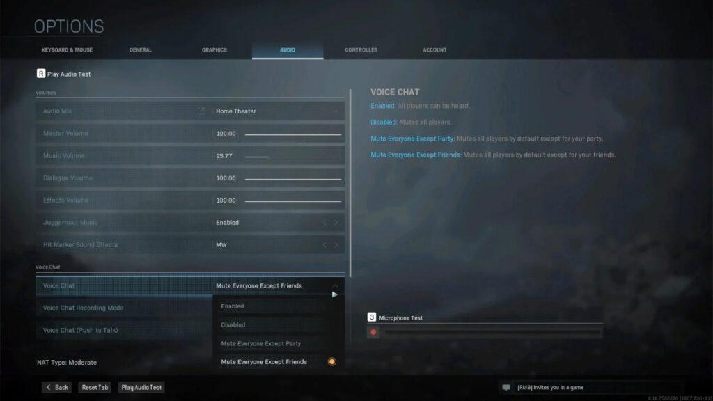 Screenshot des Menüs, in dem Sie Spieler in Warzone stummschalten können.