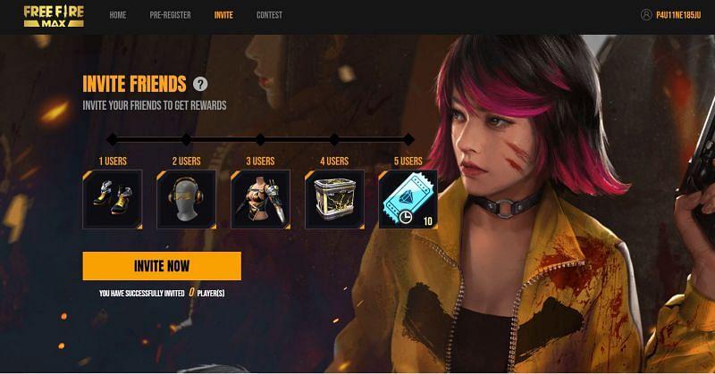 Spieler erhalten Belohnungen, wenn sie ihre Freunde erfolgreich zur Vorregistrierung für Free Fire Max einladen (Bild via Garena)