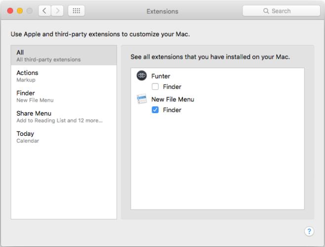 macOS-Erweiterungen