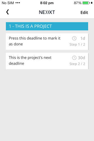 Nächstes Deadline-Projekt