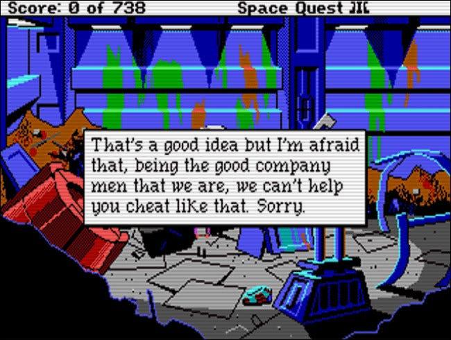Eine der wichtigsten Botschaften des Bosses aus Space Quest III (1989).