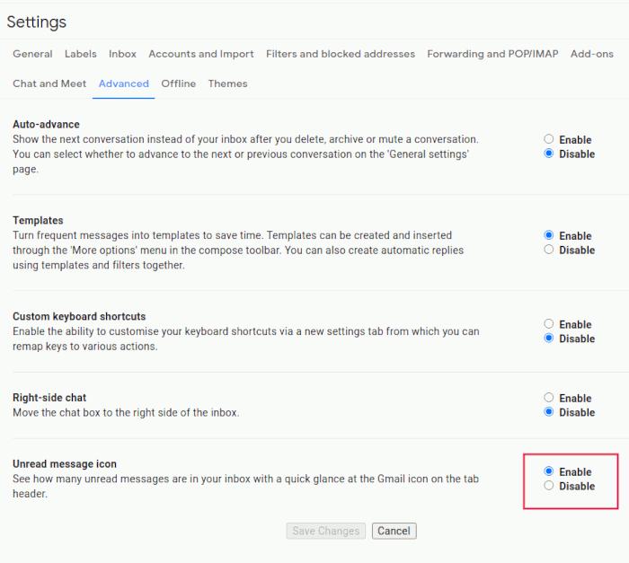 Google Mail-Einstellungen Ungelesenes Google Mail-Symbol