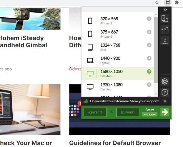 Chrome Web Window Resizer