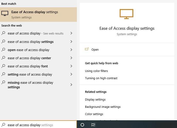 Ändern Sie die Größe der Desktop-Symbole zeigt die Anzeigeeinstellungen für den einfachen Zugriff an