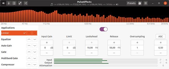 Kostenloses Audio-Upgrade mit Pulseeffects Limiter