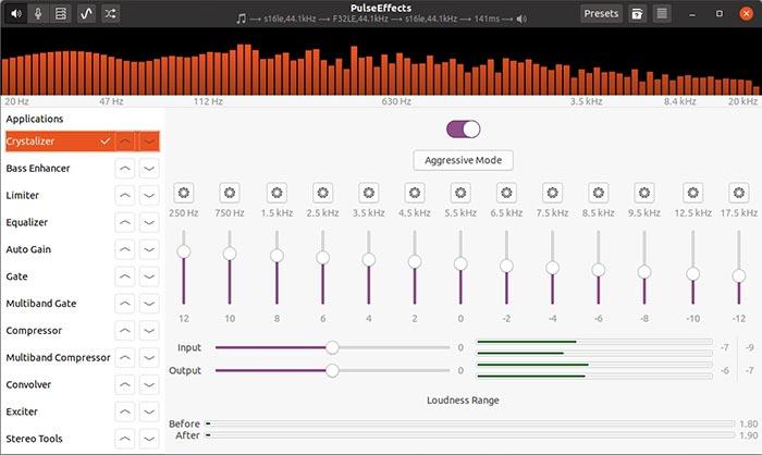 Kostenloses Audio-Upgrade mit Pulseeffects Crystalizer