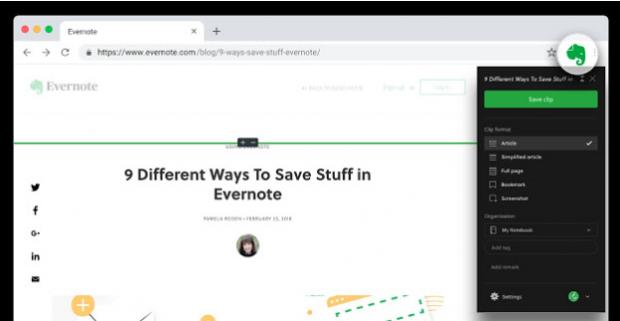 Chrome-Erweiterungen Evernote Web Cutter
