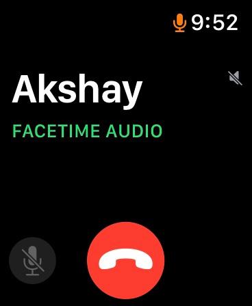 FaceTime-Benutzeroberfläche für Audioanrufe auf der Apple Watch