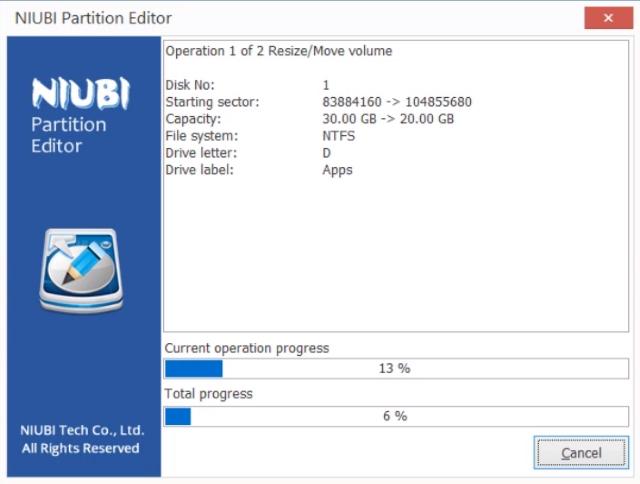 Rollback des NIUBI Partition Editors