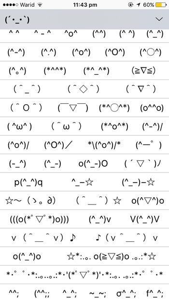 Emoticons-Liste