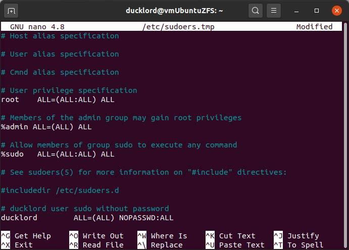Sudo Password Sudoers-Datei deaktivieren