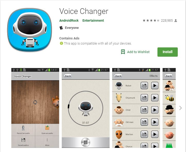 Sprachverändernde Apps Androidrock