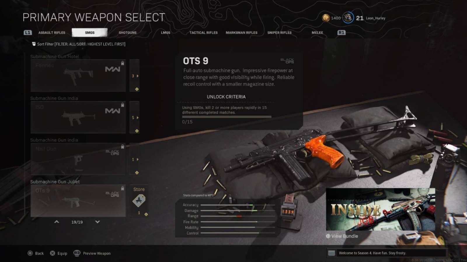 Das beste OTs 9 Warzone Loadout mit Details