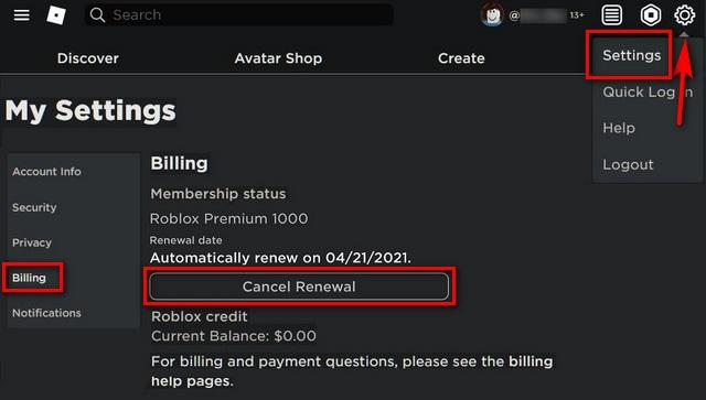 So löschen Sie ein Roblox-Konto oder kündigen die Premium-Mitgliedschaft
