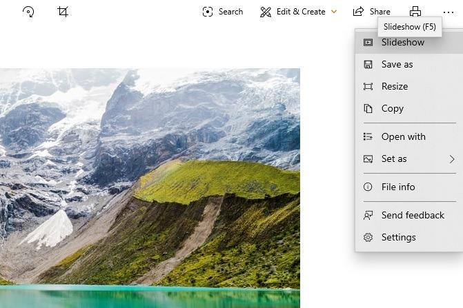 Diashow anzeigen Windows 10 Fotos App Diashow direkt aus dem Fenster