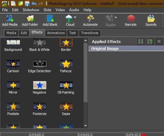 Diashow anzeigen Windows 10 Photostage von Nch Software Zusätzliche Effekte