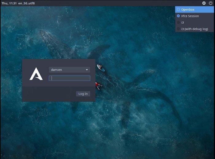 Arcolinux Desktop Manager-Sitzung 1