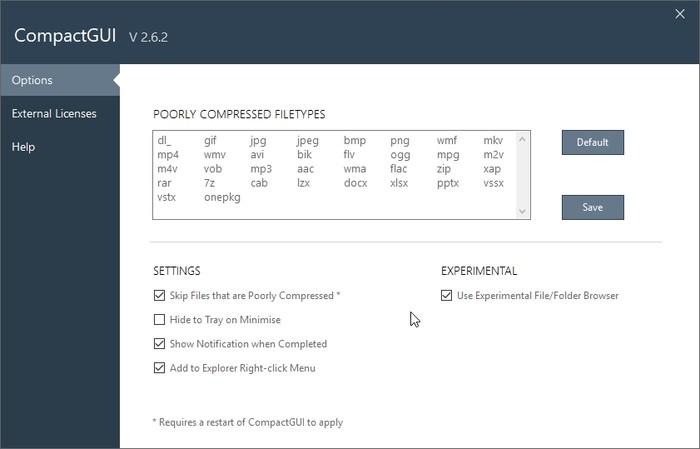 Erweitern Sie die Festplatte mit Compactgui-Optionen