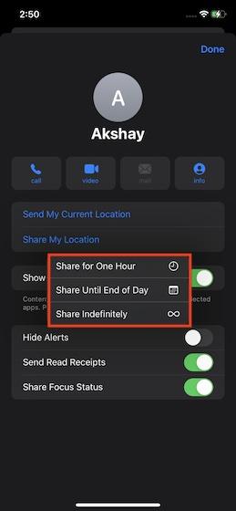 Wählen Sie aus, wie lange Sie Ihren Live-Standort teilen möchten - Teilen Sie Ihren Live-Standort in iMessage auf dem iPhone