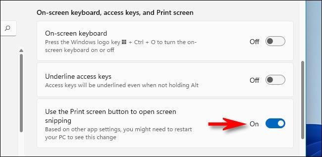 """Stellen Sie den Schalter neben """"Bildschirmdruck-Schaltfläche verwenden, um den Bildschirmausschnitt zu öffnen"""" auf """"Ein""""."""