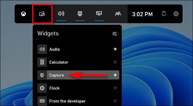 """Klicken Sie auf die Schaltfläche """"Widgets"""" und wählen Sie dann """"Erfassen""""."""
