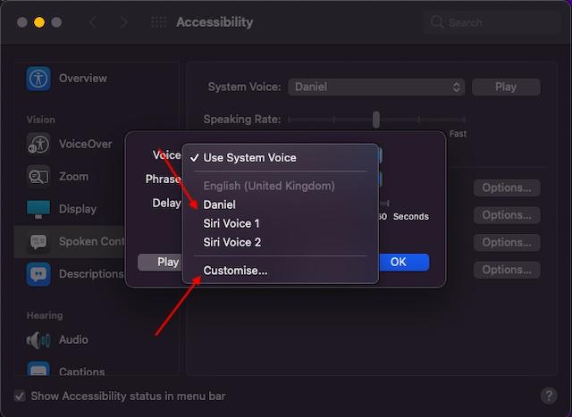 Siri-Stimme auswählen