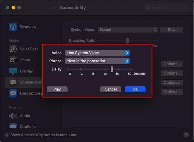 Anpassen der Einstellungen für Sprechankündigungen auf dem Mac - So aktivieren Sie die Ankündigungswarnungen auf dem Mac