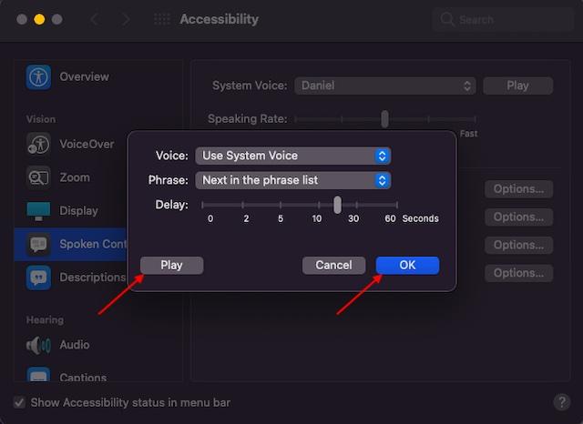 Sprechankündigungsfunktion auf dem Mac anpassen - So aktivieren Sie Benachrichtigungen auf dem Mac