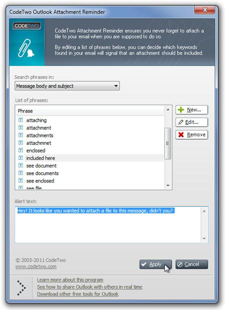 CodeTwo Outlook-Anhangerinnerung