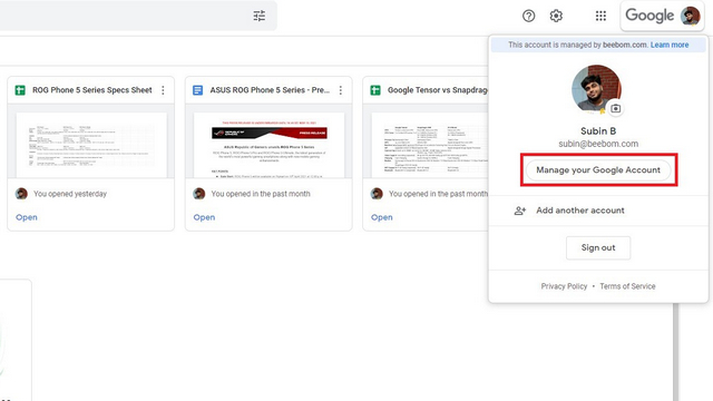 Google-Konto verwalten