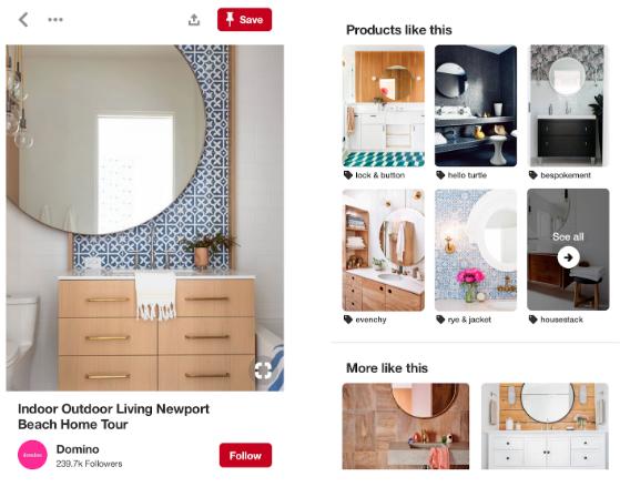 Screenshot von Pinterest-Shopping-Beiträgen