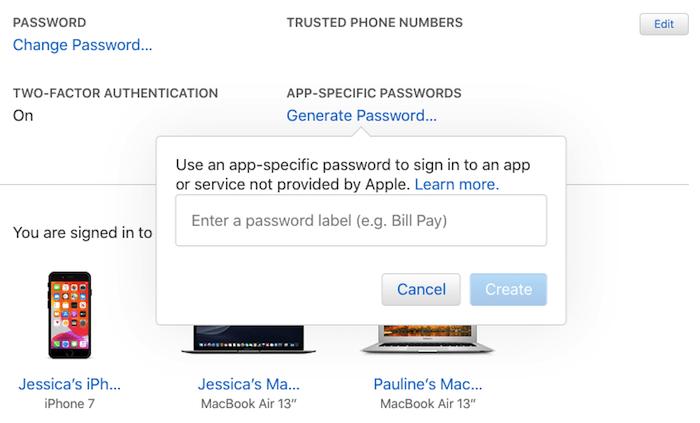 Um die Zwei-Faktor-Authentifizierung zu aktivieren, müssen Sie ein App-spezifisches Passwort generieren.