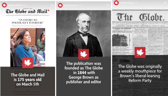 Instagram-Story-Vorlagen von Globe and Mail
