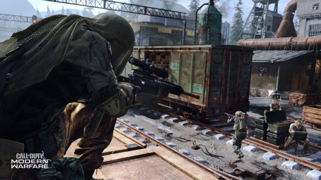 Spieler schießt Feinde in der modernen Kriegsführung
