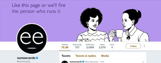 """Somecards Twitter-Hintergrundfoto: """"Like diese Seite oder wir feuern die Person, die sie betreibt"""""""