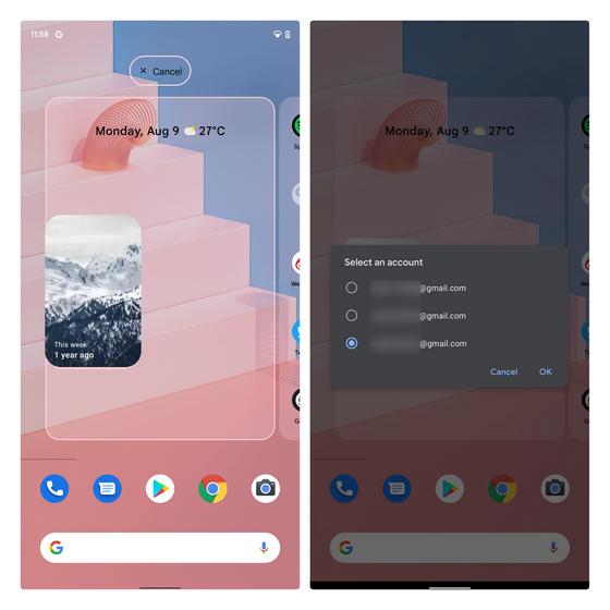 Wählen Sie Google-Kontofotos aus