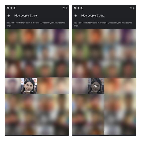 verstecke leute aus google fotos erinnerungen