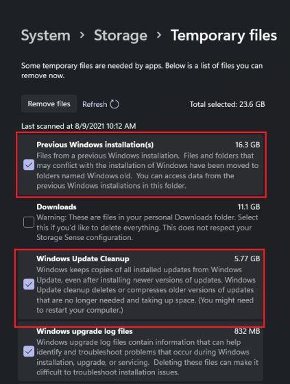 Geben Sie nach dem Upgrade auf Windows 11 (2021) Speicherplatz frei