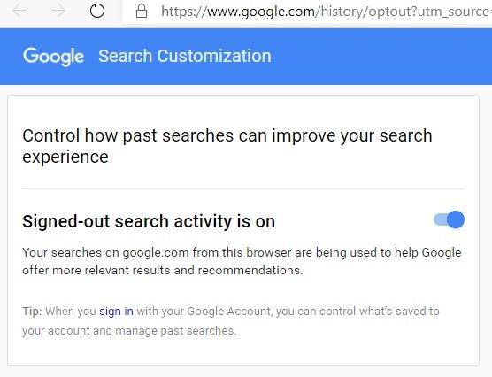 Anonymisieren der abgemeldeten Google-Suche auf 1
