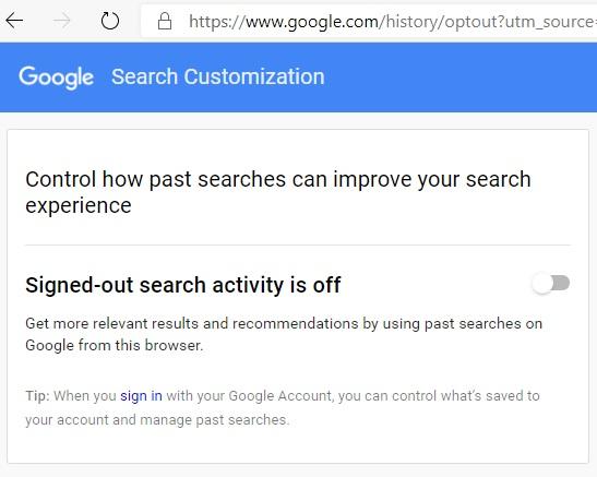 Anonymisierte Google-Suche bei Abmeldung deaktivieren 1