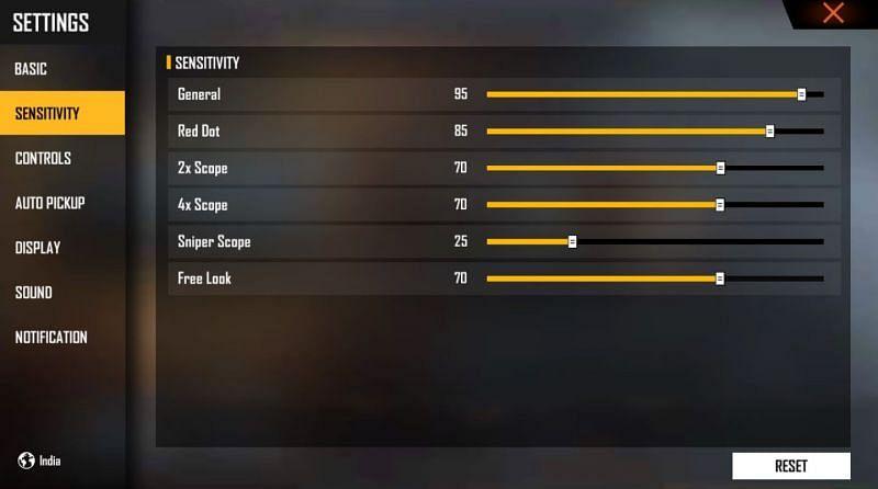 Hier sind die Empfindlichkeitseinstellungen, die Spieler anwenden können (Bild über Free Fire)