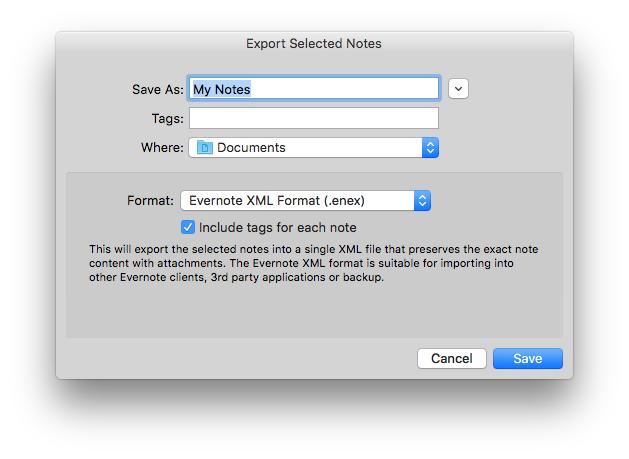 Evernote-Notizen exportieren