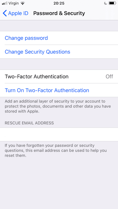 Falls noch nicht geschehen, müssen Sie die Zwei-Faktor-Authentifizierung in Ihrer iOS-Einstellungsanwendung einrichten.
