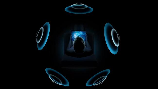 Illustration von räumlichem Audio in Apple AirPods