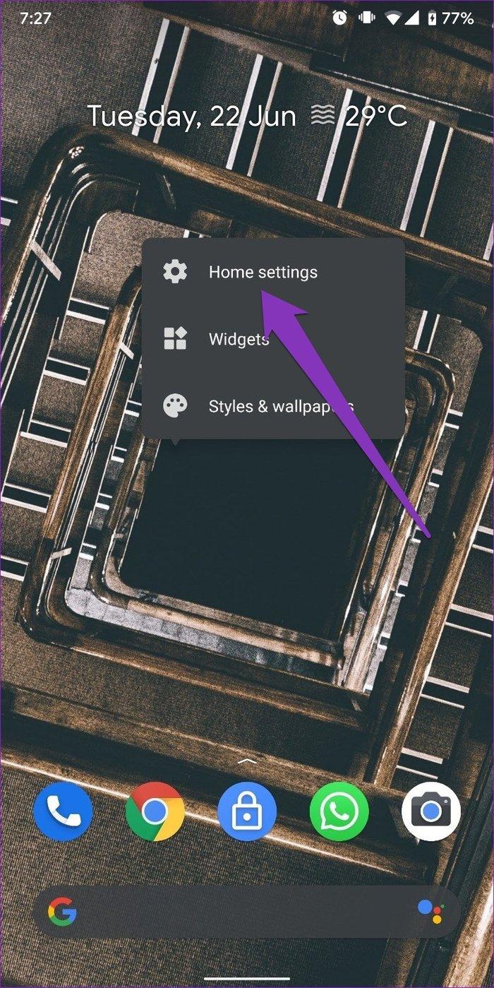Home-Einstellungen auf Android