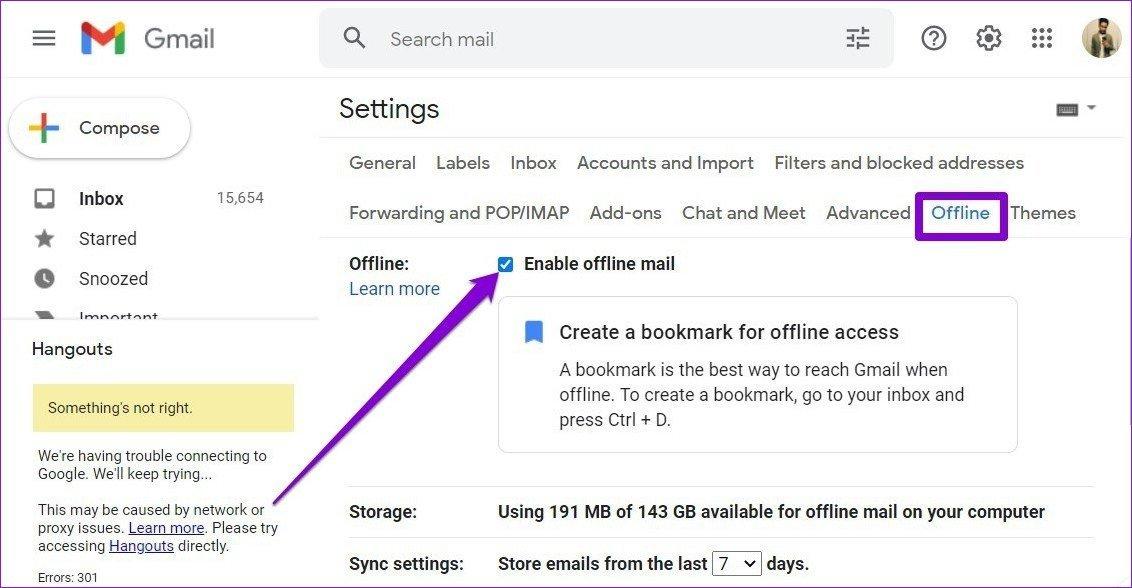 Gmail offline deaktivieren